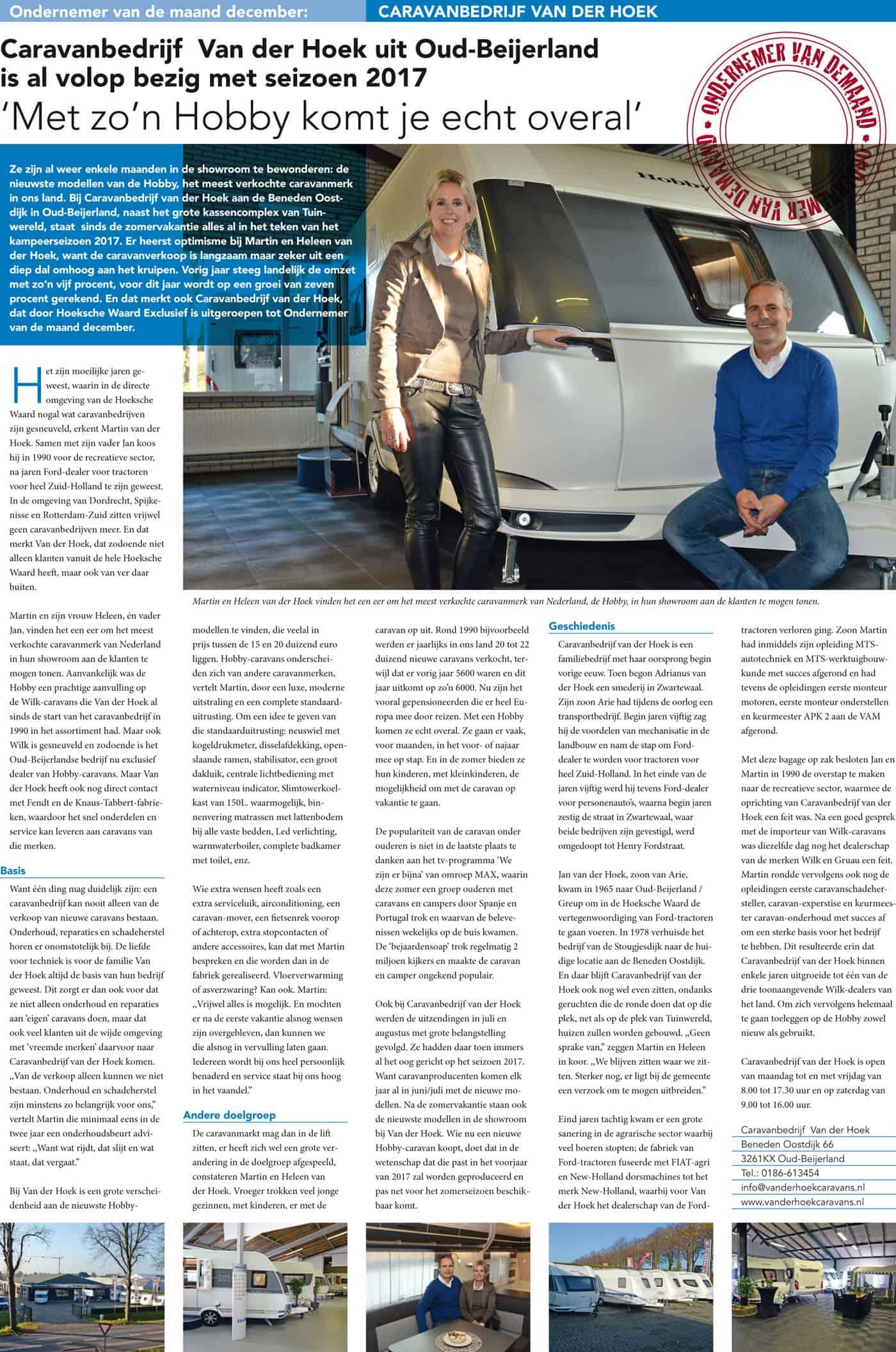 Van der Hoek Caravans - Ondernemer van de maand!